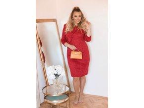 Červené svetrové šaty s volánem (Veľkosť XXXXL)