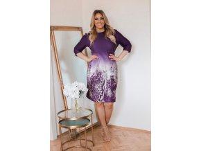 Fialové šaty se zvířecím vzorem na sukni (Veľkosť XXXXL)