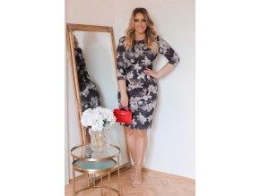 Černé květinové šaty (Veľkosť XXXXL)