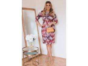 Vínové květinové šaty (Veľkosť XXXXL)