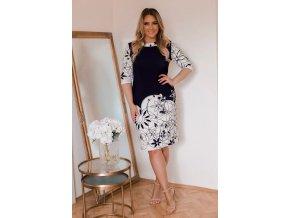Bílo-modré květinové šaty (Veľkosť XXXXL)