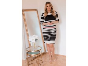 Černobílé proužkované šaty (Veľkosť XXXXL)
