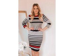 Barevné proužkované šaty (Veľkosť XXXXL)