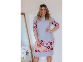 Šedo-modré šaty s květinami (Veľkosť XXXXL)