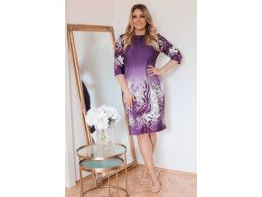 Fialové šaty se zvířecím vzorem (Veľkosť XXXXL)