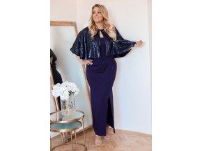 Tmavě-modré večerní šaty s třpytivým bolerkem (Veľkosť XXXXL)
