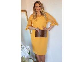 Žluté šaty s transparentními rukávy (Veľkosť XXXXL)