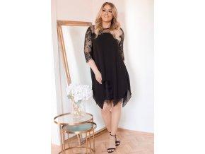 Černé šaty s krajkou (Veľkosť XXL)