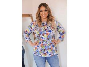 Květinové tričko s tříčtvrtečním rukávem - modrá (Veľkosť XXXL)