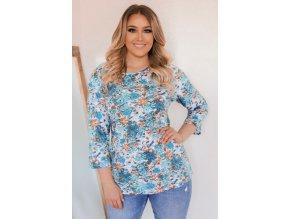 Květinové tričko s tříčtvrtečním rukávem - tyrkysová (Veľkosť XXXL)