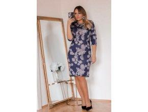 Tmavě-modré šaty Roses (Veľkosť XXXXL)