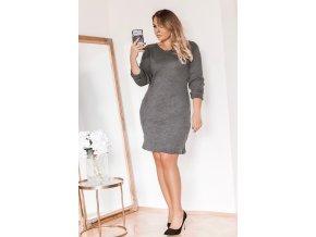 Světlo-šedé svetrové šaty (Veľkosť XXL)