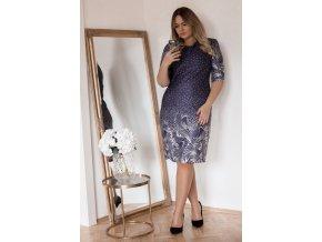 Tmavě-modré puntíkované šaty (Veľkosť XXXXL)