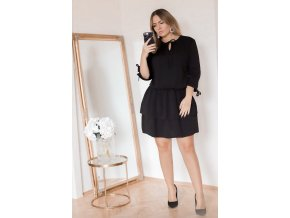 Černé šaty s nařasenou sukní (Veľkosť XXL)