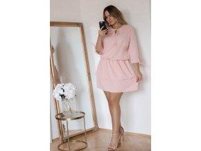 Světlo-růžové šaty s nařasenou sukní (Veľkosť XXL)