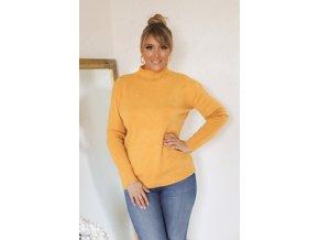 Horčičně-žlutý svetr s jemným vzorem (Veľkosť XXL/XXXL)