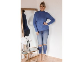 Tmavě-modrý svetr s jemným vzorem (Veľkosť XXL/XXXL)