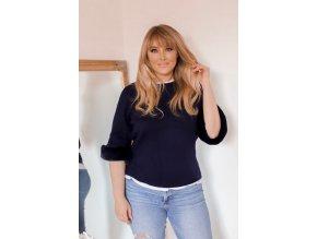 Tmavě-modrý svetr s kožešinovými rukávy (Veľkosť XXL/XXXL)