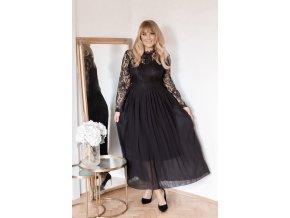 Dlouhé černé šaty s krajkovými rukávy a volnou sukní (Veľkosť XXXXL)
