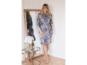Modro-šedé vzorované šaty se stříbrným vláknem (Veľkosť XXXXL)