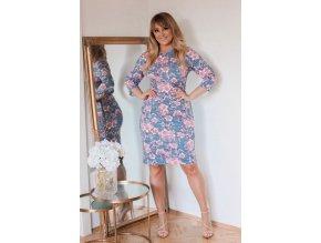 Modro-růžové květinové šaty (Veľkosť XXXXL)
