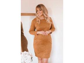 Hořčičné svetrové šaty s kapsami (Veľkosť XXXXL)
