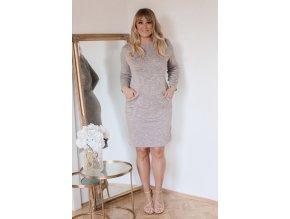 Béžové šaty s kapsami (Veľkosť XXXXL)