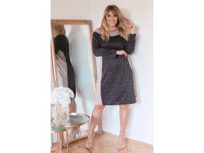 Ležérní černo-béžové šaty (Veľkosť XXXXL)