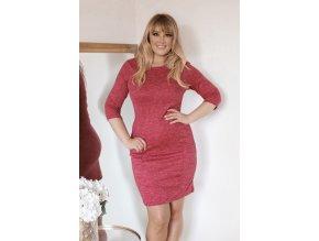 Červeno-růžové svetrové šaty s kapsami (Veľkosť XXXXL)