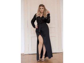 Dlouhé černé společenské šaty s třpytivým vrchem (Veľkosť XL)