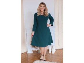Zelené šaty áčkového střihu