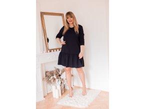 Černé šaty s nařasenou sukní (Veľkosť XXXXL)