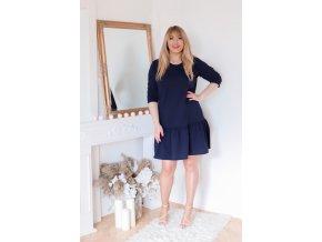 Tmavě-modré šaty s nařasenou sukní (Veľkosť XXXXL)