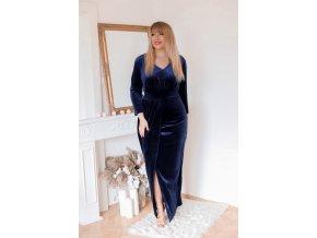 Tmavě-modré sametové šaty (Veľkosť XL)