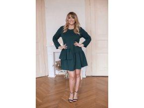 Zelené krátké šaty s řasením