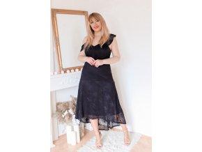 Asymetrické černé krajkové šaty (Veľkosť XXXXL)