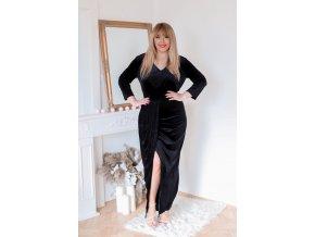 Černé sametové šaty (Veľkosť XL)