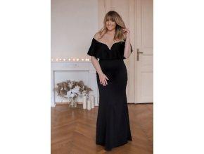 Dlouhé černé šaty s odhalenými rameny (Veľkosť XL)