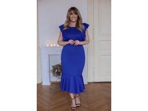 Modré šaty s řasením (Veľkosť XXXXL)