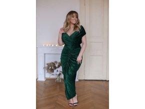 Zelené šaty s metalickým efektem a řasením (Veľkosť XL)