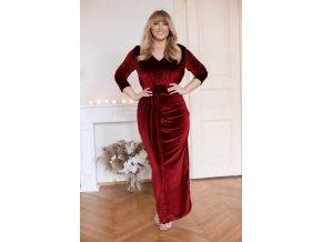 Vínové sametové šaty (Veľkosť XL)