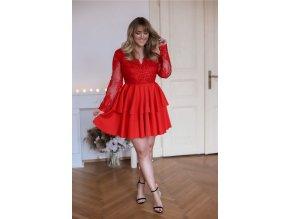 Červené minišaty s velkou sukní (Veľkosť XL)