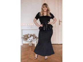 Dlouhé černé šaty s krátkým rukávem (Veľkosť XXXXL)