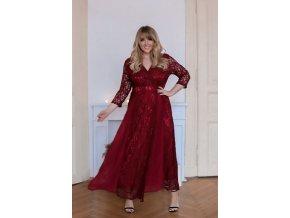 Vínové plesové šaty s krajkou (Veľkosť XXXL)
