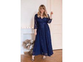 Modré plesové šaty s krajkou (Veľkosť XXXL)