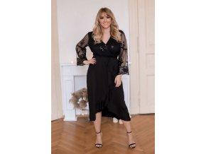 Černé šaty s dlouhými transparentními rukávy (Veľkosť XXXL)