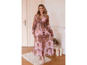 Růžové šaty s dlouhým rukávem (Veľkosť Univerzální)