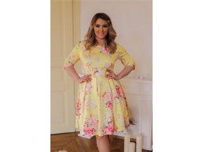 Žluté šaty s květinovým vzorem (Veľkosť XXL)