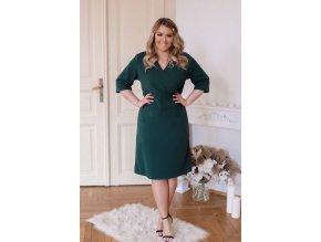 Tmavě-zelené šaty s výstřihem do V (Veľkosť XXXXL)