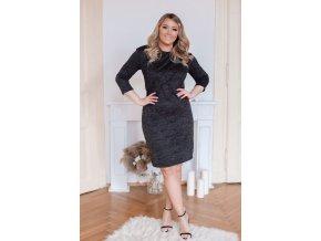 Černé svetrové šaty s volánem (Veľkosť XXXXL)